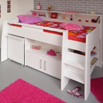 kinder hochbett weiss schreibtisch danny pharao24. Black Bedroom Furniture Sets. Home Design Ideas