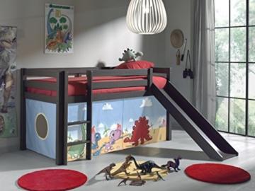 Kinderbett Abenteuerbett Kinderbett Halbhochbett Hochbett mit Rutsche + Textilset Dinosaurier Fabian Kiefer/ grau-braun - 2