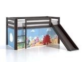 Kinderbett Abenteuerbett Kinderbett Halbhochbett Hochbett mit Rutsche + Textilset Dinosaurier Fabian Kiefer/ grau-braun - 1
