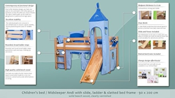 Kinderbett Hochbett Andi Buche Vollholz massiv natur mit Rutsche und Turm inkl. Rollrost - 90 x 200 cm - 2