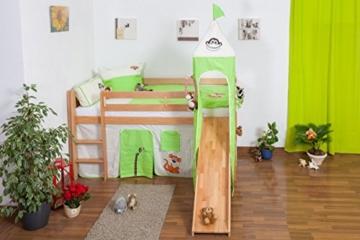 Kinderbett Hochbett Andi Buche Vollholz massiv natur mit Rutsche und Turm inkl. Rollrost - 90 x 200 cm - 3