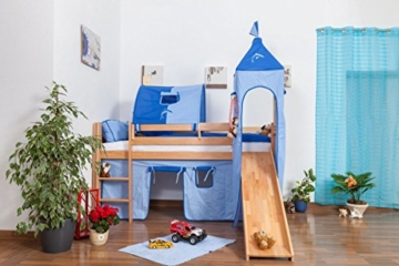 Kinderbett Hochbett Andi Buche Vollholz massiv natur mit Rutsche und Turm inkl. Rollrost - 90 x 200 cm - 4