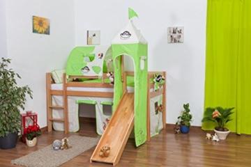 Kinderbett Hochbett Andi Buche Vollholz massiv natur mit Rutsche und Turm inkl. Rollrost - 90 x 200 cm - 1