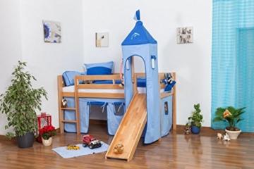 Kinderbett Hochbett Andi Buche Vollholz massiv natur mit Rutsche und Turm inkl. Rollrost - 90 x 200 cm - 5