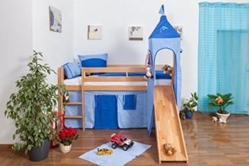 Kinderbett Hochbett Andi Buche Vollholz massiv natur mit Rutsche und Turm inkl. Rollrost - 90 x 200 cm - 6