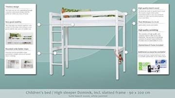 Kinderbett Hochbett / Kinderbett Dominik Buche Vollholz massiv Weiß lackiert inkl. Rollrost - 90 x 200 cm - 2