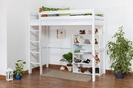 Kinderbett Hochbett / Kinderbett Dominik Buche Vollholz massiv Weiß lackiert inkl. Rollrost - 90 x 200 cm - 1