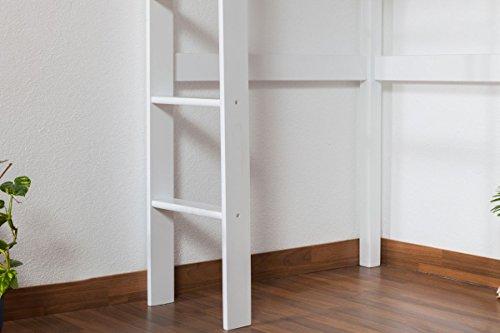 Kinderbett Hochbett / Kinderbett Dominik Buche Vollholz massiv Weiß lackiert inkl. Rollrost - 90 x 200 cm - 4