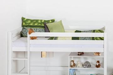 Kinderbett Hochbett / Kinderbett Dominik Buche Vollholz massiv Weiß lackiert inkl. Rollrost - 90 x 200 cm - 6
