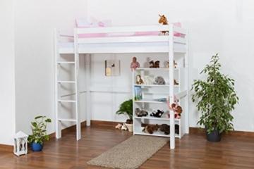 Kinderbett Hochbett / Kinderbett Dominik Buche Vollholz massiv Weiß lackiert inkl. Rollrost - 90 x 200 cm - 7