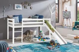 Kinderbett Hochbett mit rutsche Leiter Hochbett Spielbett Kiefer Massiv weiss oder Unbehandelt (Weiss) - 1
