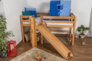 Kinderbett Hochbett Samuel Buche Vollholz massiv mit Rutsche natur inkl. Rollrost - 90 x 200 cm - 6