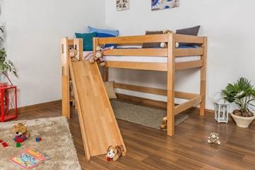 Kinderbett Hochbett Samuel Buche Vollholz massiv mit Rutsche natur inkl. Rollrost - 90 x 200 cm - 7
