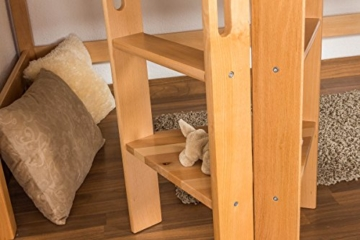 Kinderbett Hochbett Samuel Buche Vollholz massiv mit Rutsche natur inkl. Rollrost - 90 x 200 cm - 9