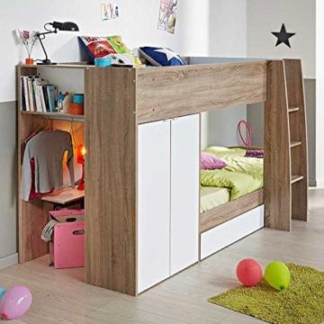 Kinderhochbett mit integriertem Schrank 90x200 Pharao24 - 2