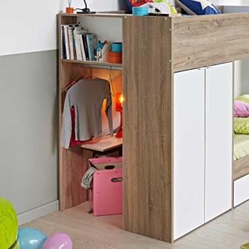 Kinderhochbett mit integriertem Schrank 90x200 Pharao24 - 4
