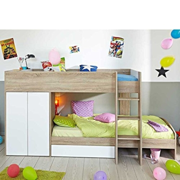 Kinderhochbett mit integriertem Schrank 90x200 Pharao24 - 1