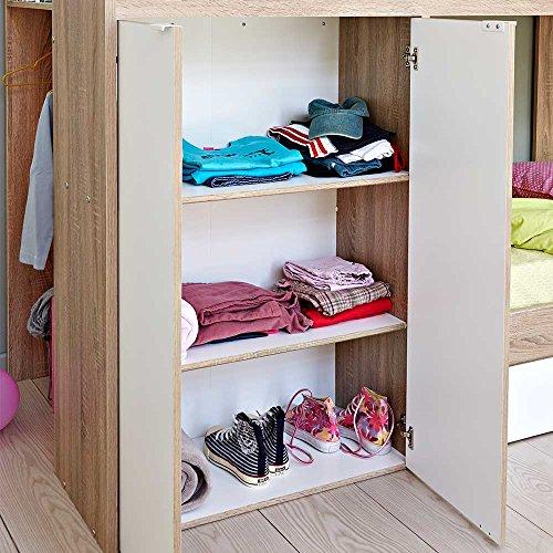 Kinderhochbett mit integriertem Schrank 90x200 Pharao24 - 6