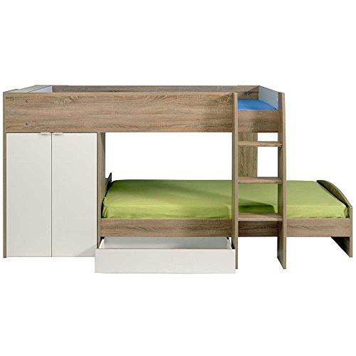 Kinderhochbett mit integriertem Schrank 90x200 Pharao24 - 7