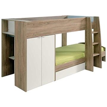 Kinderhochbett mit integriertem Schrank 90x200 Pharao24 - 8