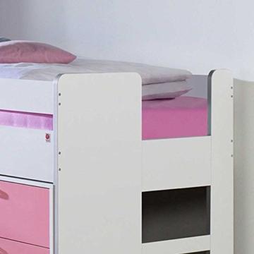Kinderhochbett mit Stauraum Weiß Rosa Pharao24 - 3