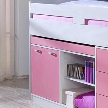 Kinderhochbett mit Stauraum Weiß Rosa Pharao24 - 4