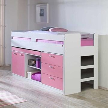 Kinderhochbett mit Stauraum Weiß Rosa Pharao24 - 1