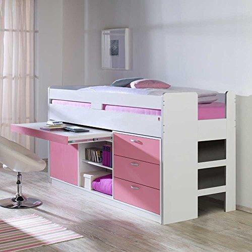 kinderhochbett mit stauraum wei rosa pharao24 5. Black Bedroom Furniture Sets. Home Design Ideas
