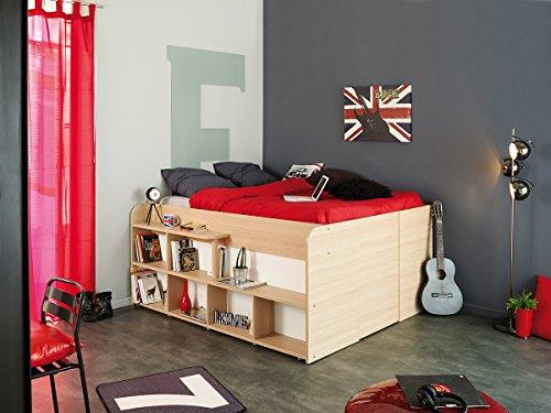 parisot halbhohes bett space up in eiche mit absetzungen in weiss. Black Bedroom Furniture Sets. Home Design Ideas