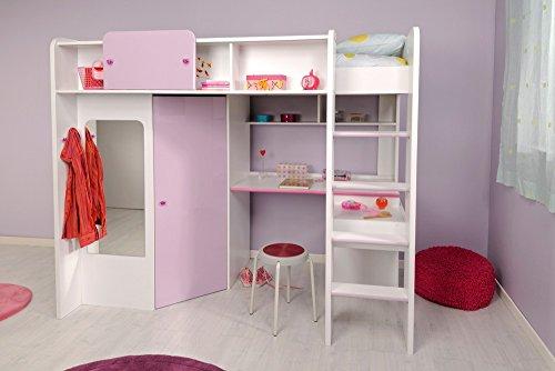 PARISOT Kinderbett Hochbett Mademoiselle / Yasmin in weiss/lila - 1