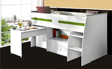 PARISOT Kinderbett Hochbett Reverse mit Schreibtisch weiß - 1