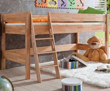 Relita BH1131114 Halbhohes Spielbett KIM, Maße 210 x 113 x 110 cm, Liegefläche 90 x 200 cm, Buche massiv natur lackiert - 1