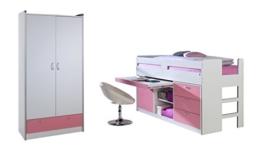 Relita BH1184117+ZB1184123+ZT1814117+ZB1814123 Set-Bonny Hochbett und Kleiderschrank 2-tragen, Liegefläche 90 x 200 cm, Spanplatte Dekor beschichtet weiß / rosa - 1