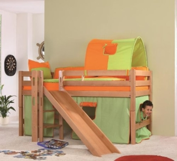 relita hochbett eliyas aus massivholz inkl stoffset gr n orange. Black Bedroom Furniture Sets. Home Design Ideas