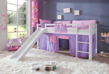 Relita Hochbett Toby Massivholz weiß, Rutsche + Stoffset purp/rosa purple/rosa - 2