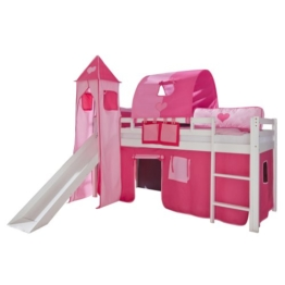 Relita Hochbett Toby Massivholz weiß, Rutsche, Turm, Stoff pink/rosa pink/rosa - 1