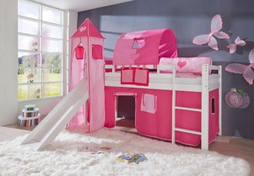 Relita Hochbett Toby Massivholz weiß, Rutsche, Turm, Stoff pink/rosa pink/rosa - 2