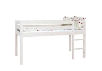 Steens Furniture 7331003013000F Halbhochbett Tom mit Gardinen Piratos, Kiefer massiv, weiß lasiert - 1