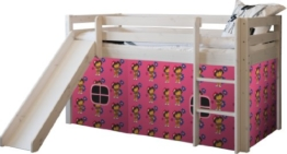 Steens Furniture 7331004013000F Halbhochbett Tom, Rutsche, Gardinen Dora Dora, Kiefer massiv, weiß lasiert - 1