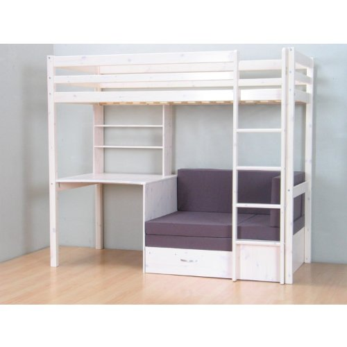 thuka hochbett 90x200 bett weiss inkl matratze grau und lattenrost 2. Black Bedroom Furniture Sets. Home Design Ideas