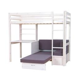 Thuka Hochbett, 90x200 Bett weiss inkl. Matratze grau und Lattenrost - 1