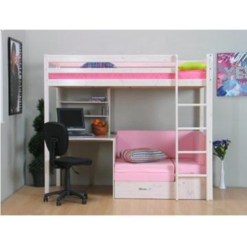 Thuka Hochbett 90x200 Kiefer massiv Bett Kinderbett Gästebett Schreibtisch - 2