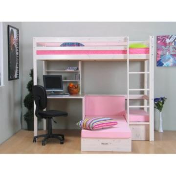 Thuka Hochbett 90x200 Kiefer massiv Bett Kinderbett Gästebett Schreibtisch - 3