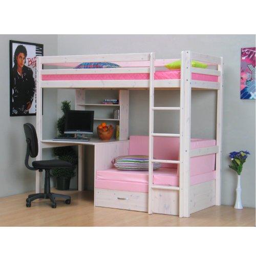 Thuka Hochbett 90x200 Kiefer massiv Bett Kinderbett Gästebett Schreibtisch - 10
