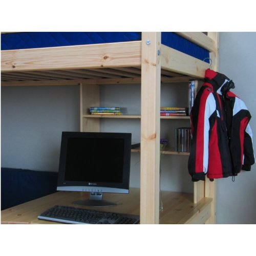 Thuka Hochbett 90x200 Kiefer massiv Bett Kinderbett Gästebett Schreibtisch - 8