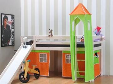 Thuka Kinder Turm Spielturm für Kinderbett Hochbett Rutschbett Bett grün orange - 2
