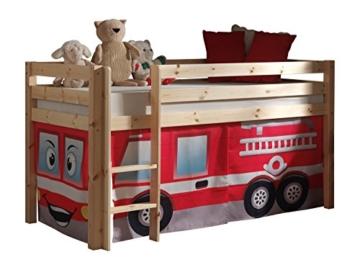"VIPACK PICOHSZG1070 Spielbett Pino mit Textilset ""Feuerwehr"", Maße 210 x 114 x 106 cm, Liegefläche 90 x 200 cm, Kiefer massiv natur lackiert - 1"