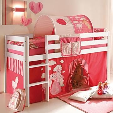 Vorhang 3-teilig 100% Baumwolle Stoffvorhang inkl Klettband für Hochbett Spielbett Etagenbett Stockbett Kinderbett pink weiß Kinderzimmer - 2