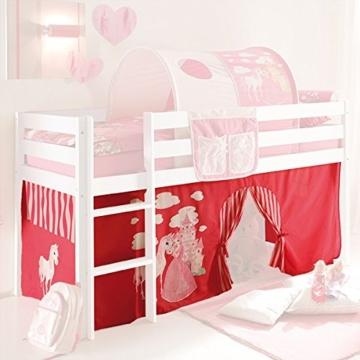 Vorhang 3-teilig 100% Baumwolle Stoffvorhang inkl Klettband für Hochbett Spielbett Etagenbett Stockbett Kinderbett pink weiß Kinderzimmer - 1