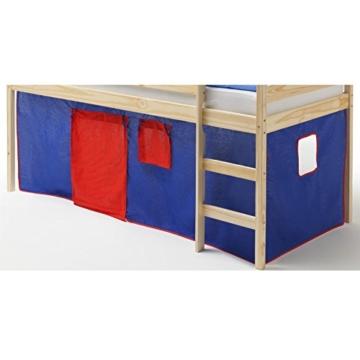 Vorhang Gardine Bettvorhang CLASSIC zu Hochbett Rutschbett Spielbett in blau/rot - 2